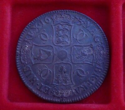 1673 Charles II silver Crown Coin V.Quinto
