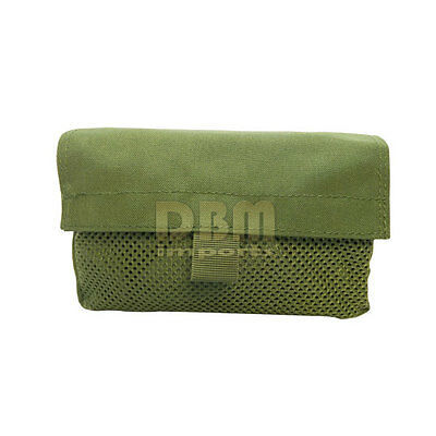 2 Pc Military Tactical OD GREEN Mesh Insert Utility Pouch Loop And Hook Backing