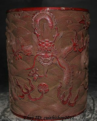 "9"" Marked Chinese Dynasty Palace Wood lacquerware Dragon Brush Pot pencil vase"