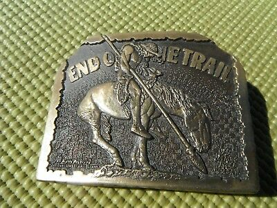 RARE vintage  END OF THE TRAIL   belt buckle.      VG++