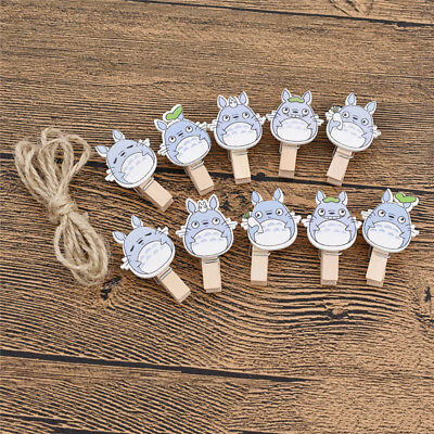 10 Pcs Totoro Clips Wooden Cute Mini Animation Art Cartoon Characters Crafts