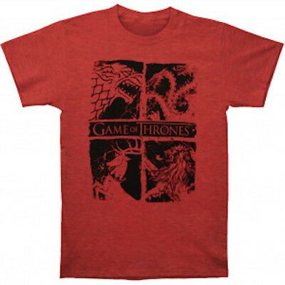 "Game Of Thrones ""FOUR HOUSE SIGILS"" T-Shirt Red Tee NWT 100%Official & Authentic"