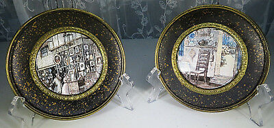"""2 Vintage Solid Brass 5""""1/2 Wall Hanging Plates Foil Glass Art Pictures England"""