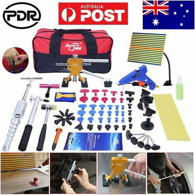 94× PDR Paintless Dent Repair Tools Puller Lifter LED Light Hail Removal Hammer