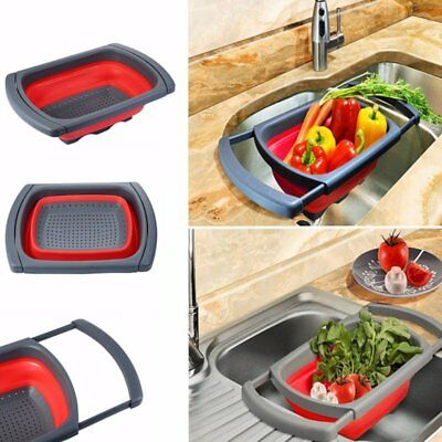 Over The Sink Collapsible Colander, Silicone Kitchen Retractable Strainer  Basket