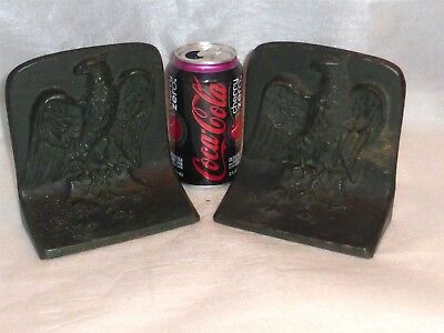 Antique EAGLE Cast Iron Bookends, BRADLEY & HUBBARD, Heavy & Large, Exc Detail