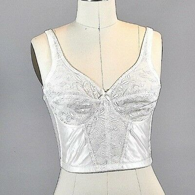 Vtg Form.O.Uth Longline Bra Corset White Lace 1960's Style 34C Back Close