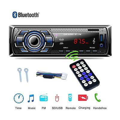 Bluetooth Car Stereo Audio Radio MP3 Player FM SD TF USB AUX Input Single 1 Din