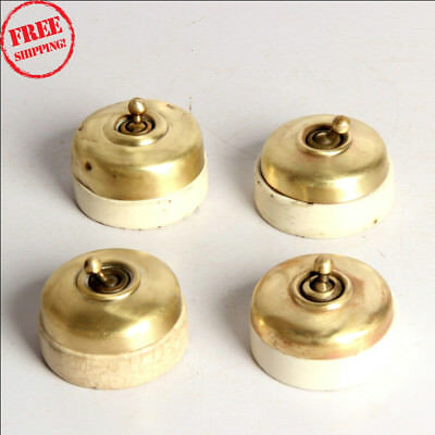 4 Pc Old Vintage Vitreous Brand Brass & Ceramic Electric Switches , England 9926