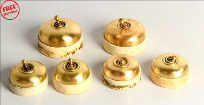 6 Pc Old Vintage Vitreous Brand Brass & Ceramic Electric Switches , Britain 9956