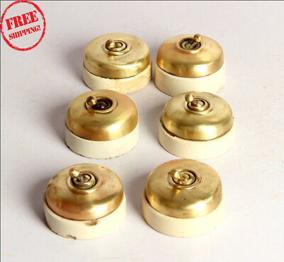 6 Pc Old Vintage Vitreous Brand Brass & Ceramic Electric Switches , England 9934