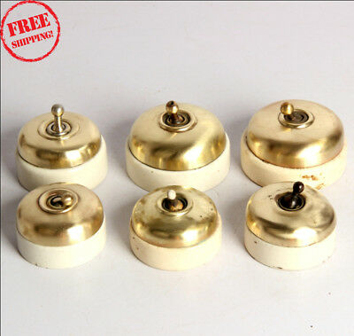 6 Pc Old Vintage Vitreous Brand Brass & Ceramic Electric Switches , England 9922