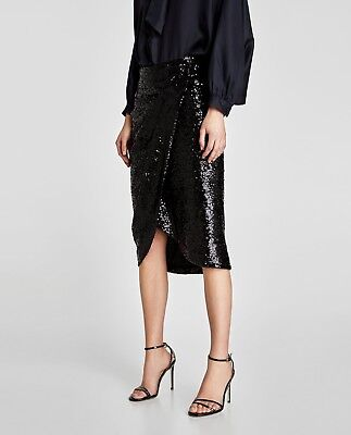 ZARA NEW AW17 SEQUINNED SKIRT WITH FRINGE GREEN SIZES S M L