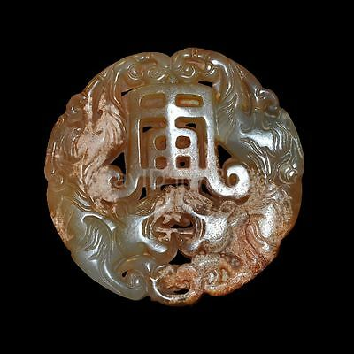 Old Chinese antique Jade hand-carved Beast Statue Pendants Amulet~dragon feng