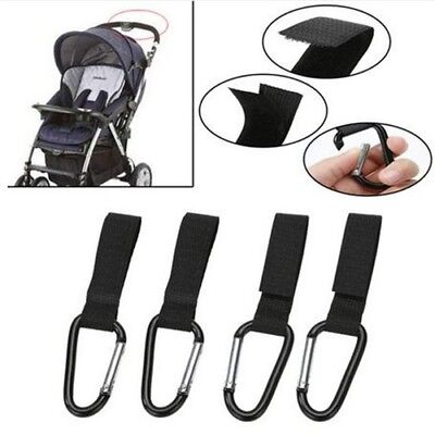 4pcs Shopping Bag Hooks Wheelchairs Pushchair Strollers Hook Carabiner Clips
