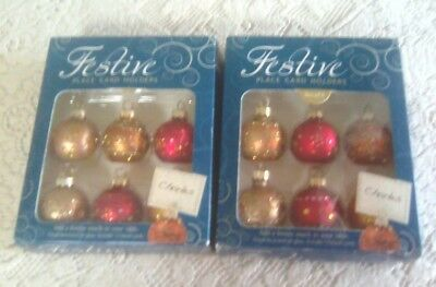 'festive' Christmas Baubles - Place Card Holders (2 Packs Of 6)
