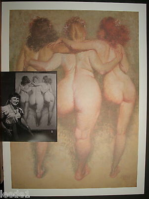 Zoe Mozert Hand Signed Three Graces Pinup Walking View Behind B & W Photo