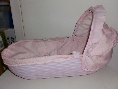 Mamas and Papas Pink Baby Dolls Wicker Effect Carry Cot with Doll