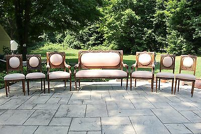 Beautiful Antique Set for 8 French Louis XVI Style Dining Chairs w/Bench