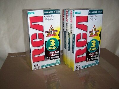 6 RCA Stanard Grade T-120 VHS Blank Tapes 2-6 Hour SEALED