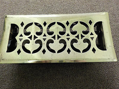 """Vintage Brass Floor Grate, Heat Register with Louvers and Surround, 11"""" x 5.25"""""""