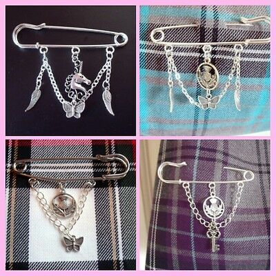 kilt pin brooch charms include: thistle butterfly dragon unicorn angel wings key
