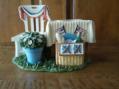 Yankee Candle Flag 4th of July Picnic Patriotic SUMMER LIVING Tea Light Holder