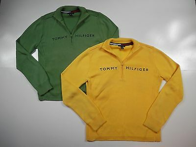 LOT of 2 Tommy Hilfiger Half Zip Thin Knit Sweater Womens Size Large 100% Cotton