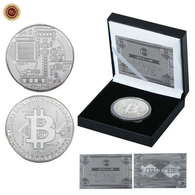 WR 999 Silver Plated Bitcoin Physical BTC Coin In Collection Box Business Gifts
