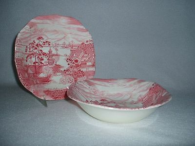 Johnson Brothers China Enchanted Garden Pink Red Soup Cereal Bowls Set of 2
