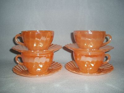 4 PEACH LUSTRE IRIDESCENT SHELL Termocrisa Mexico Cups & Saucers Free U.S. Ship