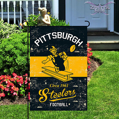 Vintage Pittsburgh Steelers garden flag linen Steelers flag NFL 14L3824VINT
