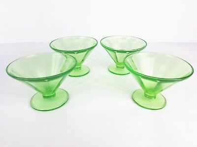 Vintage lot of 4 Federal uranium glass ice cream cups green glow Vaseline