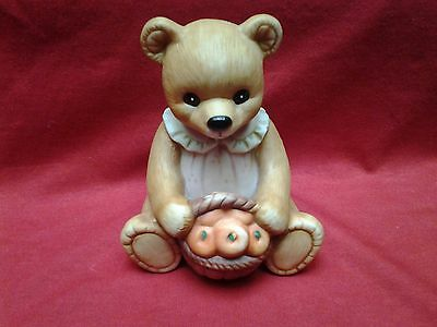 Vintage Homco Sitting Teddy Bear with Apple Basket