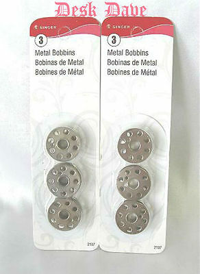 6 New Metal Bobbins for Singer Featherweight 221, 222, 301 Sewing Machines