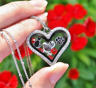 Cat Mom Glass Locket Necklace Floating Charms Kitty Fish Bone Paw Print Heart