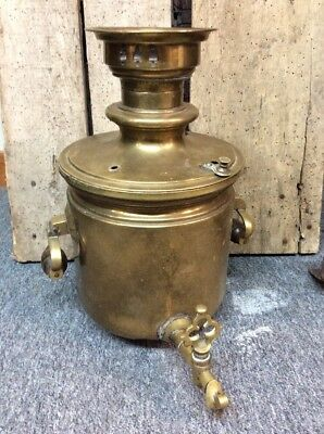 Antique Russian Samavor Tea Pot Brass Several Award Stamps As-is