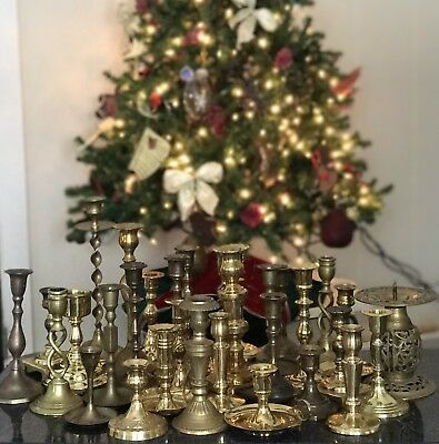 Lot 32 Vintage Brass Candlestick Holders Gold Tone Solid Tall Wedding Ornate