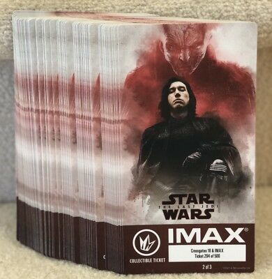 Star Wars The Last Jedi Week 2 Collectible IMAX Special Edition Tickets ?/500