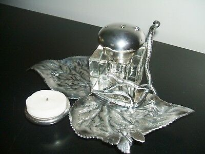 Antique James W. Tufts Quadruple Silver Plate Inkwell 1880's Mold 2873