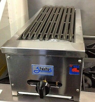 "NEW 12"" Lava Rock Char Broiler Gas Grill Stratus SCB-12 NG #4095 Commercial NSF"