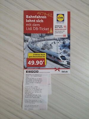 lidl tickets db deutsche bahn ticket 2 fahrten coupon keine zugbindung gutschein eur 50 00. Black Bedroom Furniture Sets. Home Design Ideas