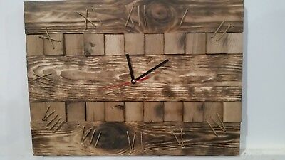 Hand Made Wall Clock made from reclaimed wood wall art W560mm x H350mm