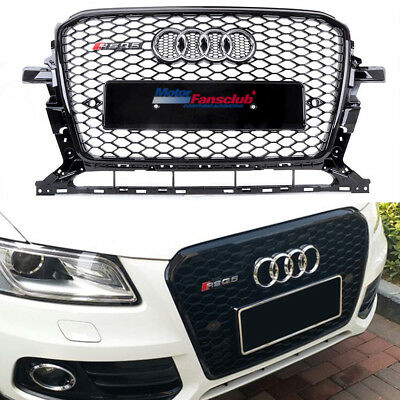 RSQ5 Honeycomb Front Upper Hood ABS Grille Glossy Black For Audi Q5 2013-2017