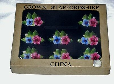 Crown Staffordshire Bone China Floral Place Card Holders Set Of 8