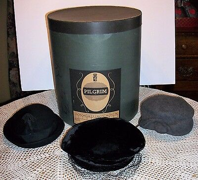 Vintage Pilgrim Hat Box & Three Winter Hats
