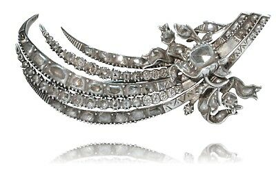 Antique Silver & Diamond Brooch, Vintage Jewelry Ottoman Empire MUST SEE!!