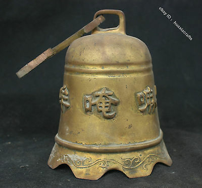 """10"""" Collect China Buddhism Old Brass Bronze Statue Writing Scripture Bell Zhong"""
