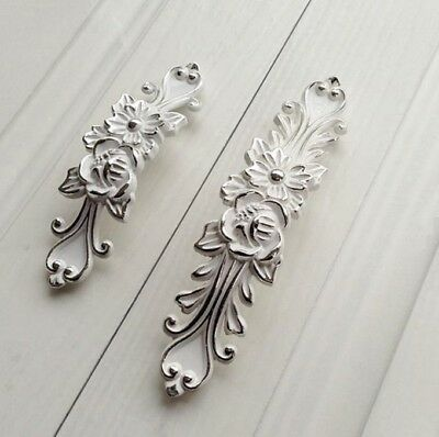 White Silver Shabby Chic Dresser Drawer Pulls Handles Furniture Hardware