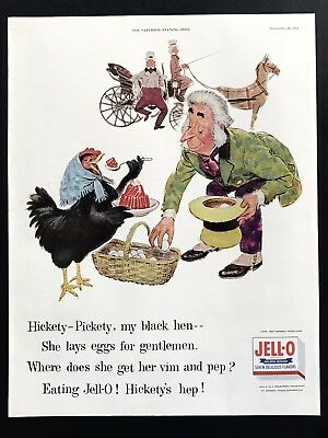 1955 Vintage Print Ad 50's JELL-O Hen Illustration Art Eggs Hat Horse Carriage